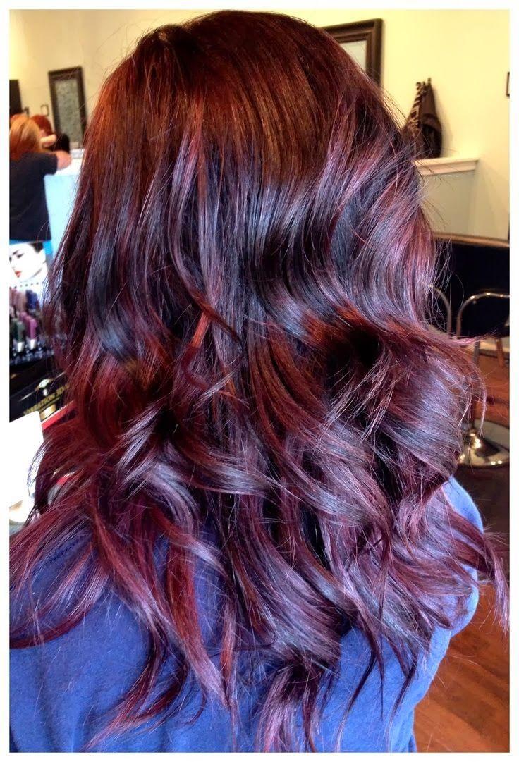 dark brown hair with deep violet