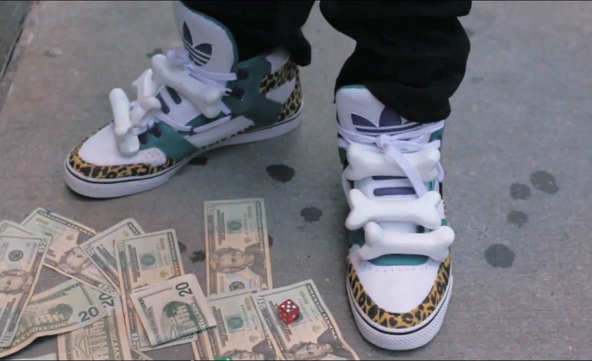 bones, leopard, green and blue and white shoes... Asap Rocky Peso