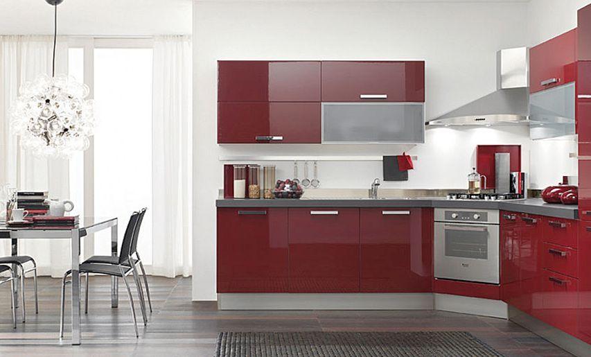 Cocinas dise o de cocinas en color rojo rojp red - Cocinas en esquina ...