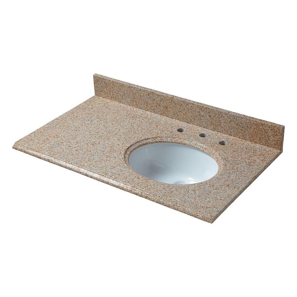 pegasus 37 in w granite vanity top in beige with offset right bowl rh pinterest com