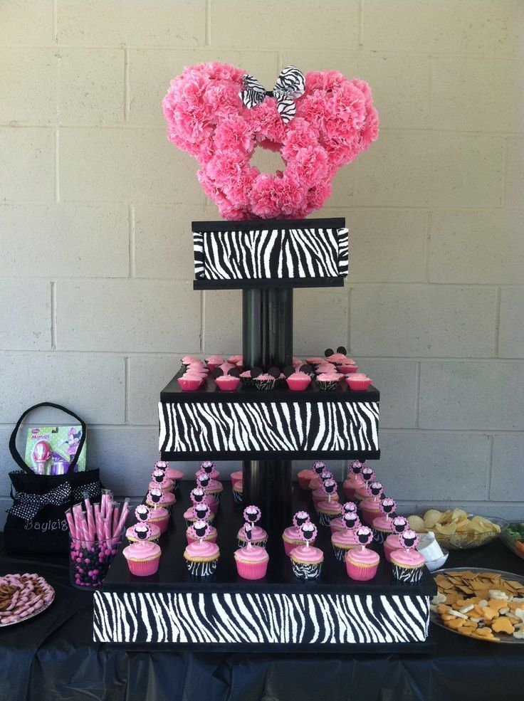 Zebra Minnie Mouse Cupcake Tower Birthday Use JK to navigate to