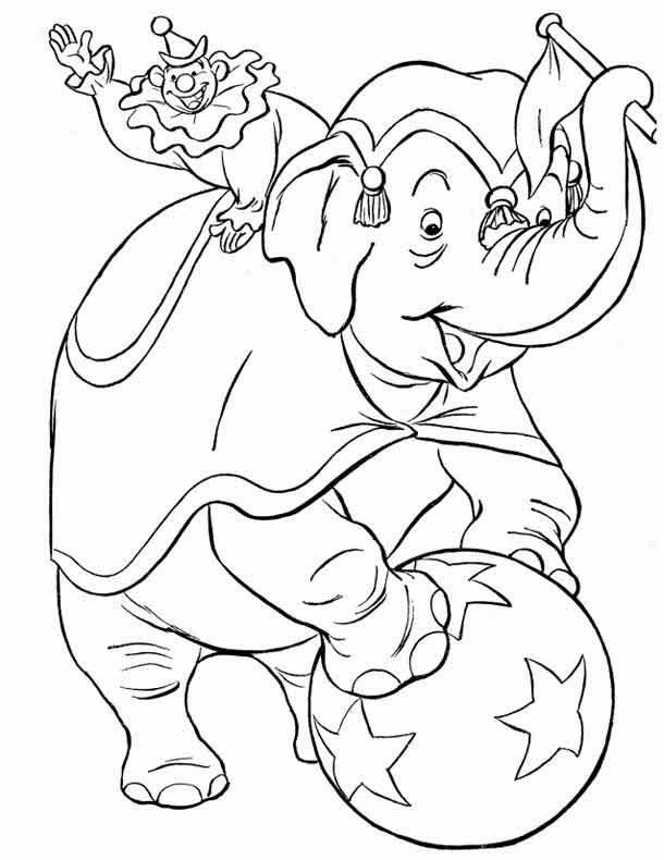Download Free Printable Circus Elephant With Joker Coloring Pages To