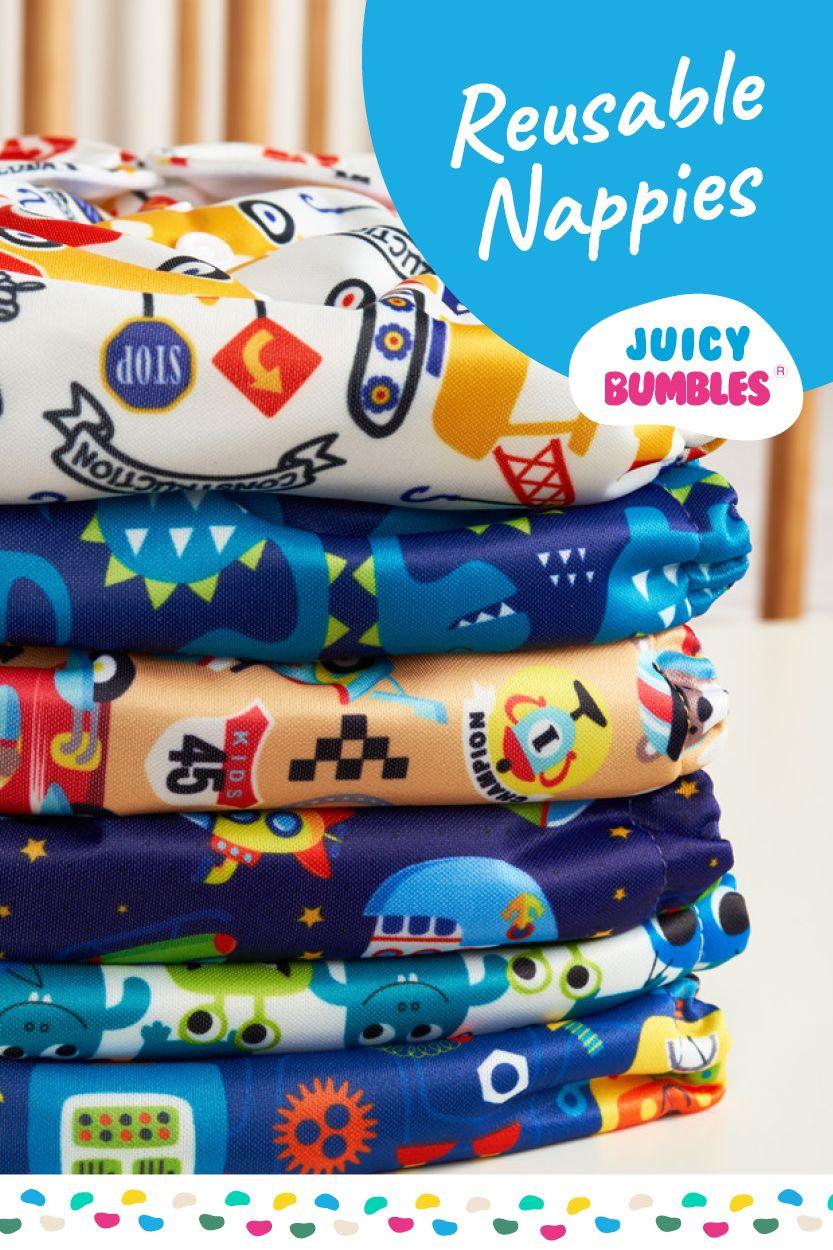 Set Of 6 Reusable Nappies Washable Cloth Nappies 6 Washable