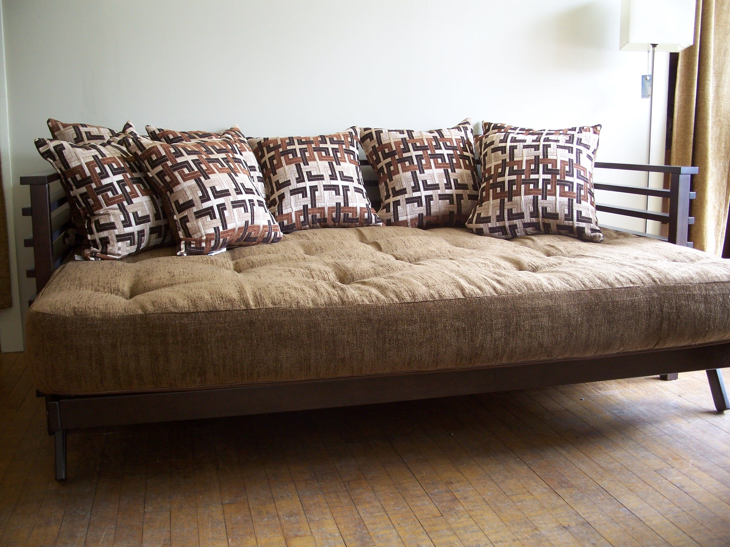 The Orion Futon Frame Shown Open As Bed With A Premium Tdc Super Spring