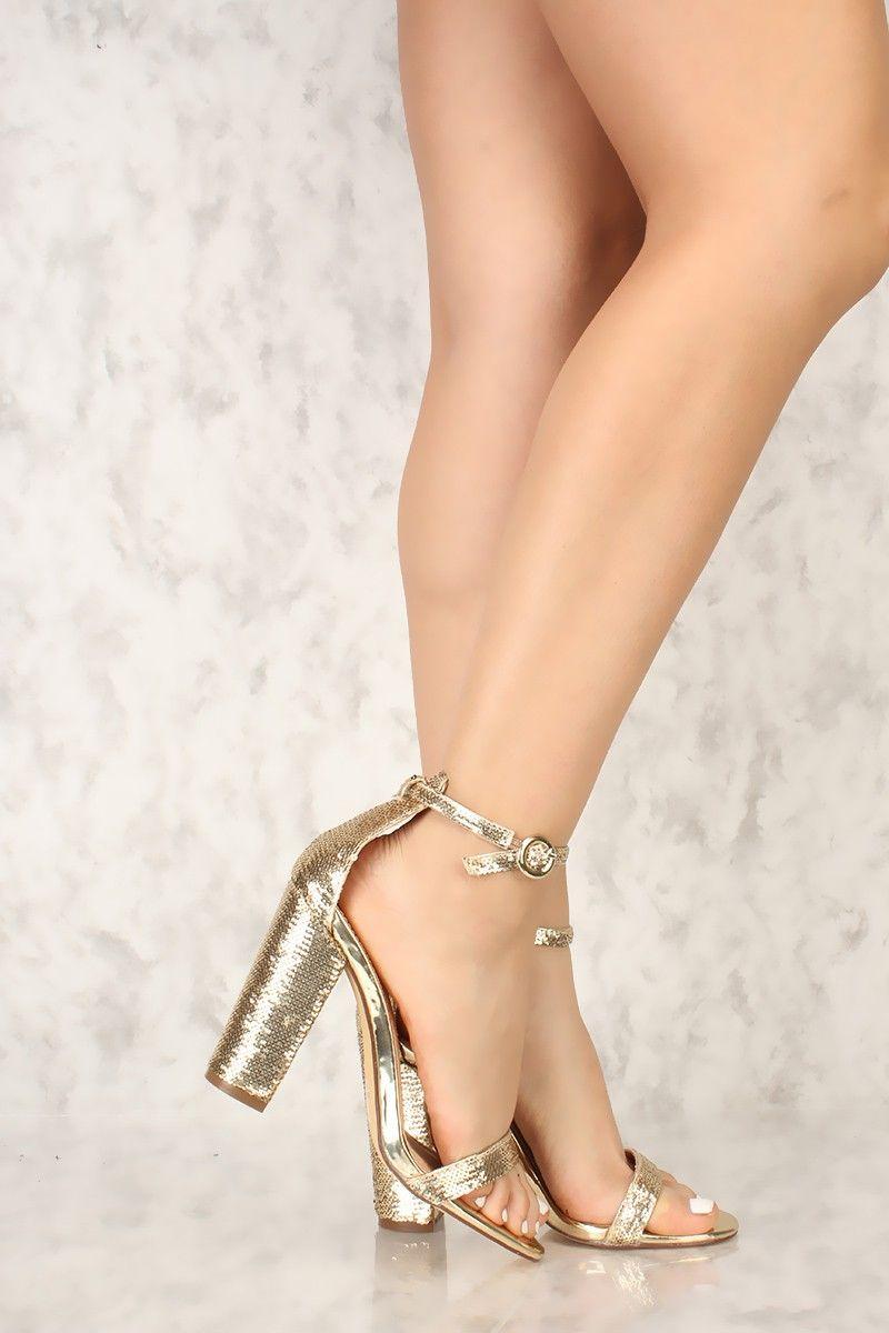 e4f4c88e3a5 Sexy Sequins de ouro Open Toe Chunky Heels Sequins