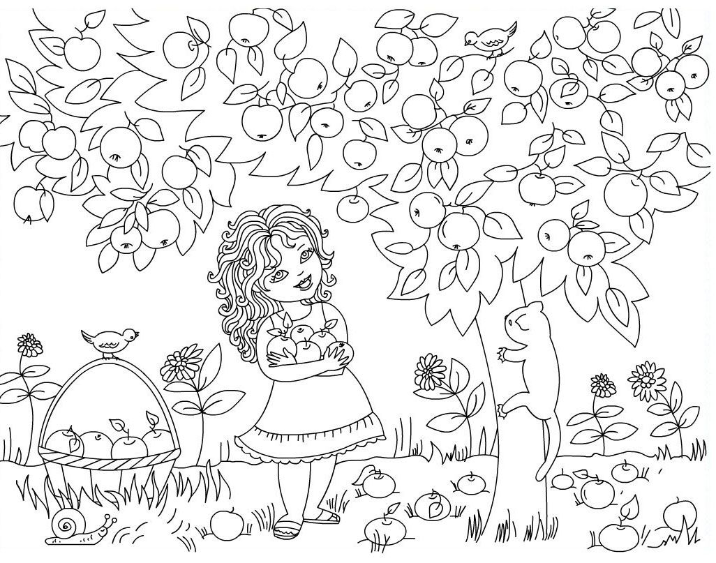 Gather Apples At The Fruit Basket Coloring Pages Fruit Coloring Pages Apple Coloring Pages Tree Coloring Page