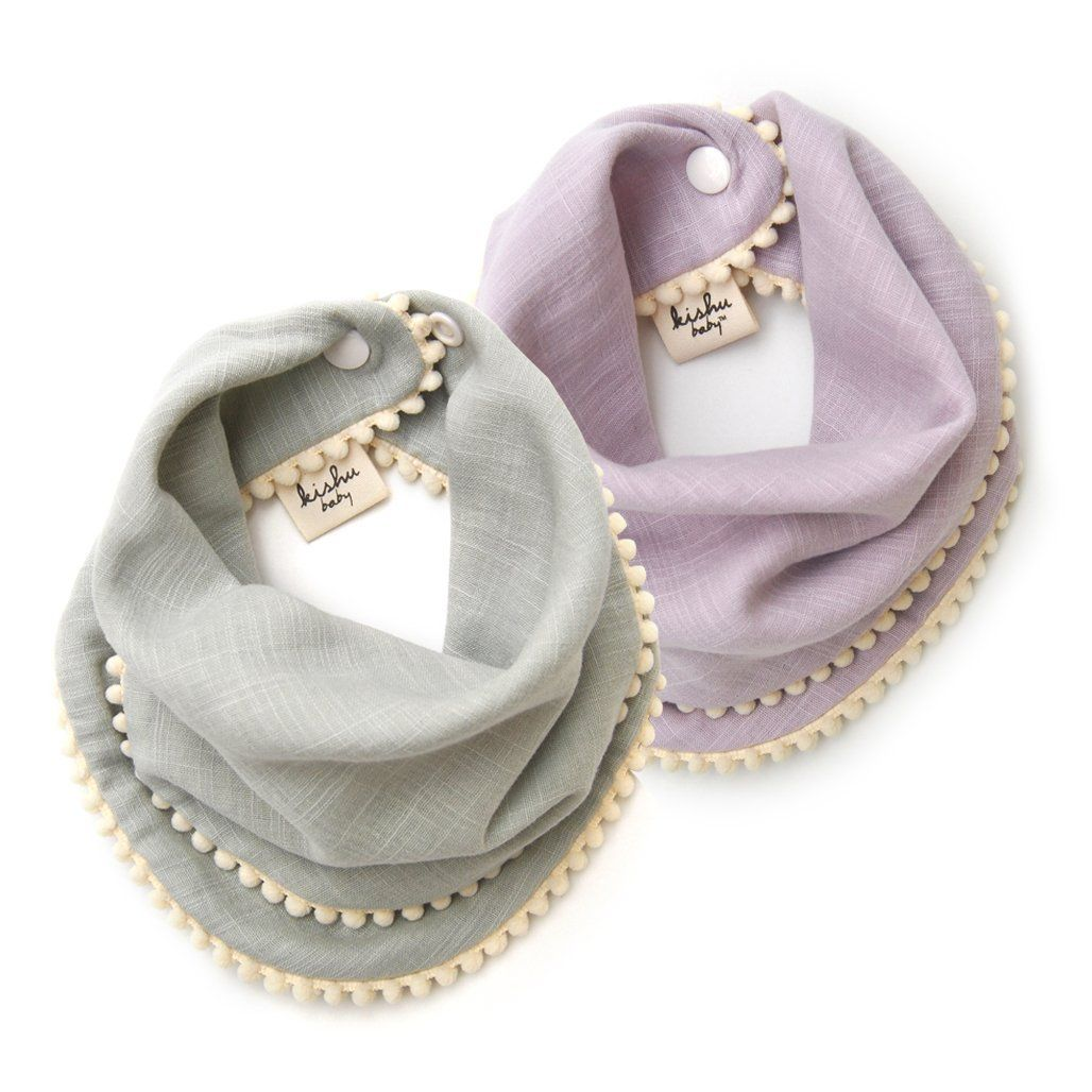 kishu baby Girl Bibs 2-pk Sage and Lavender Pom Pom Bib Gift Set for Girls, Multicolor, One Size *** Read more reviews of the product by visiting the link on the image.