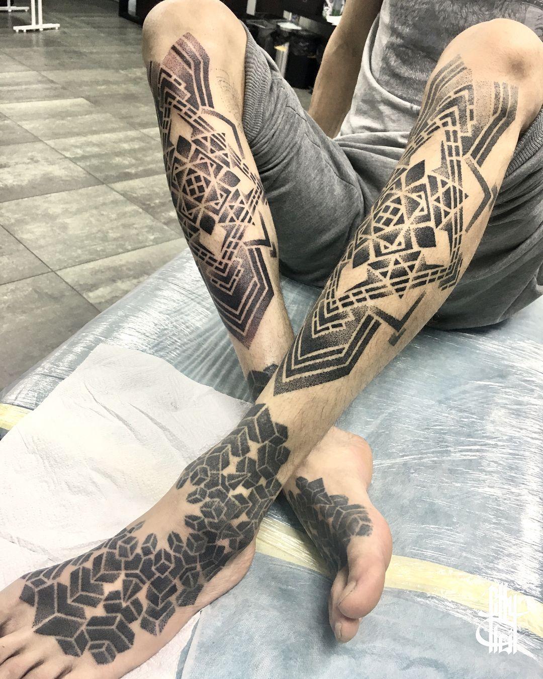 Tattoo Artist Billy Heil Black Ornamental Dotwork Tattoo Minsk