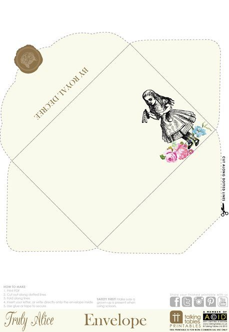 Truly Alice Free Printable - Envelope Writing \ Wrapping - 4x6 envelope template