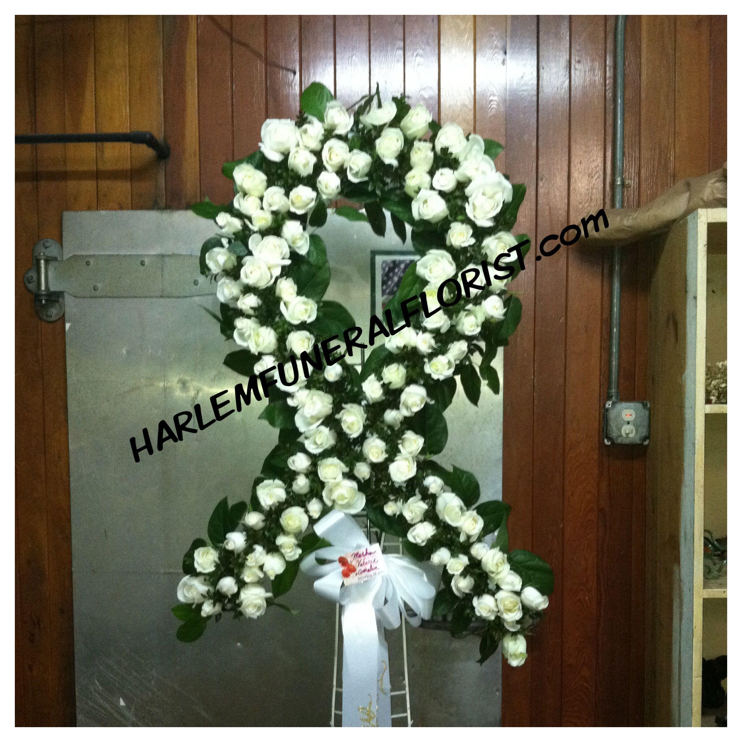 White ribbon custom funeral flower designs pinterest white ribbon white ribbon izmirmasajfo
