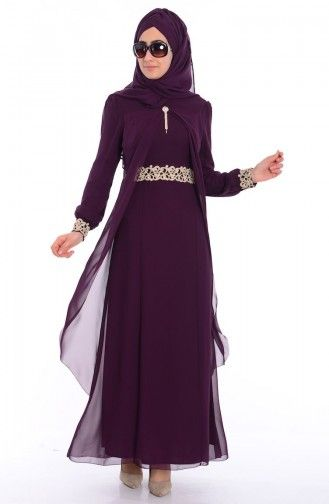 fb45e54978c42 Tesettür Elbise FY 52221-02 Mürdüm | zerafet kıyafet | Elbise ...