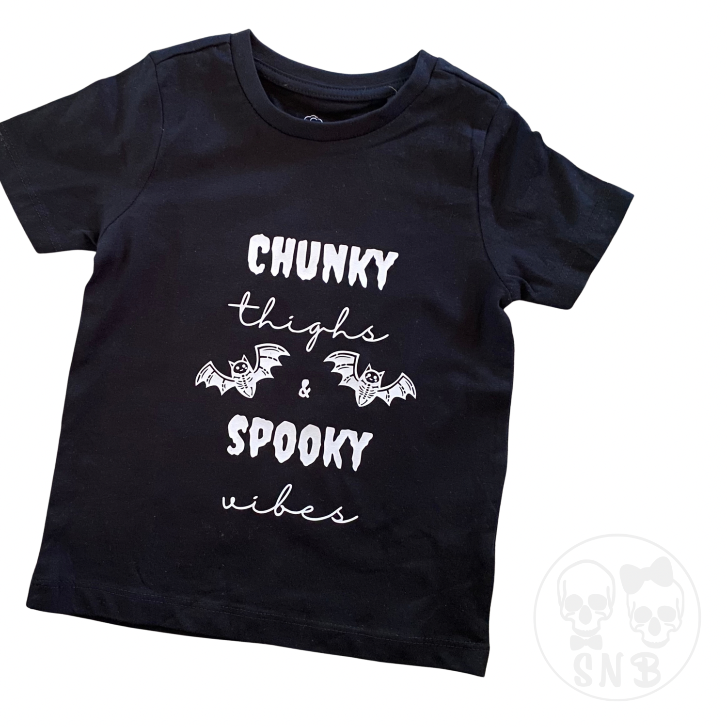 Chunky thighs & spooky vibes. where are all our thick thighed girls with a love for all things spooky hiding? this t-shirt is perfect for any spooky babe from babies - adults. The design is printed on a premium quality, crew neck t-shirt or onesie of choice made using 100% ethically sourced Australian cotton. Black shirt printed with White designs, All other shirts are printed with black designs. Our Colour options are endless. Please use the 'contact us' page to discuss your custom t-shirt