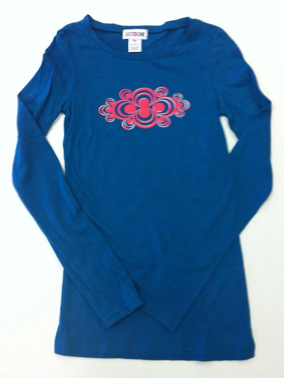Woman's Blue Ripple Yoga Long Sleeve Shirt on Etsy, $20.00