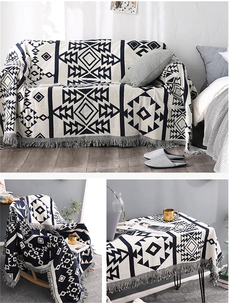 Bohemian Black White Geometric Sofa Blanket Throws Simple Cotton Bedspread Sofa Cover Knitted Blanket For Bed Travel Blanket Sofa Throw Blanket Sofa Throw Cover Sofa Blanket Cover