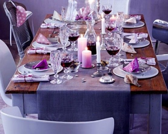 Awesome Purple Thanksgiving Decoration Ideas Use Candles To Add Warmth The Table Setting