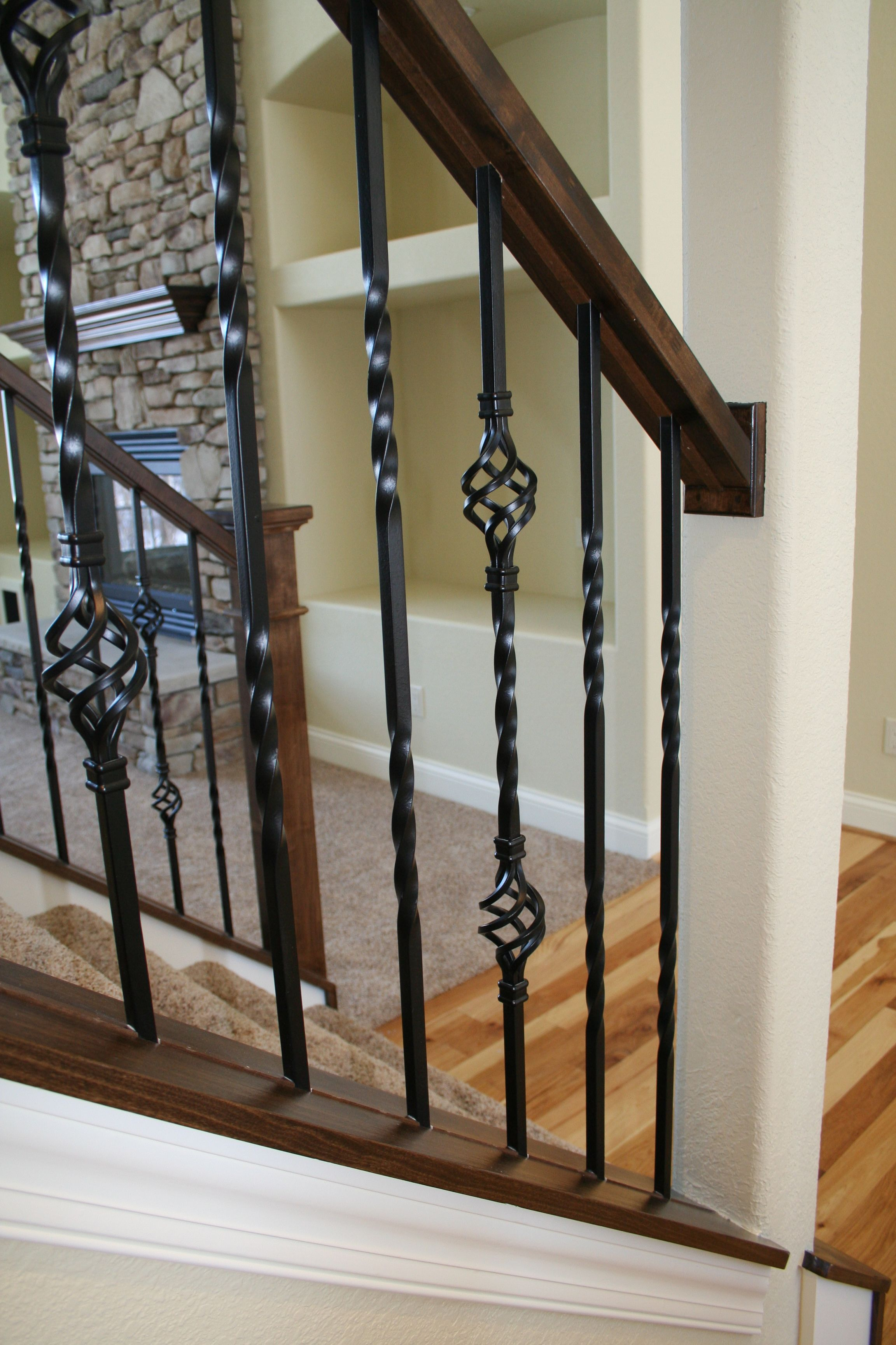 Best Alder Wood And Wrought Iron Spindles On The Stair Case 400 x 300