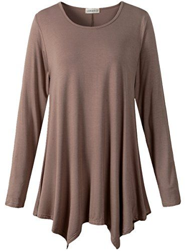 LARACE Womens Long Sleeve Flattering Comfy Tunic Loose Fit Flowy Top (2X, Khaki) - http://www.darrenblogs.com/2017/01/larace-womens-long-sleeve-flattering-comfy-tunic-loose-fit-flowy-top-2x-khaki/