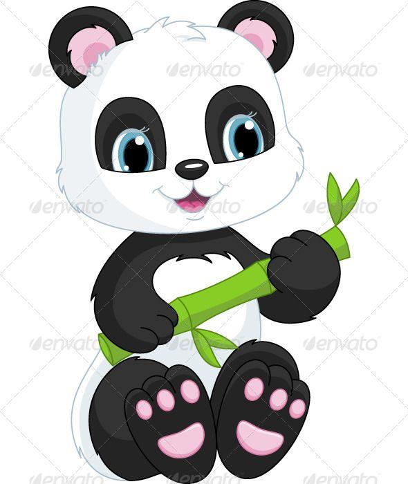 Vectors Panda Graphicriver Panda Painting Cute Panda Little Panda