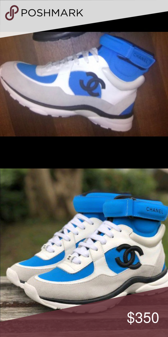 6217de52203 Chanel sneakers 2018 light blue and white high top Chanel sneaker for men  or women CHANEL Shoes Sneakers