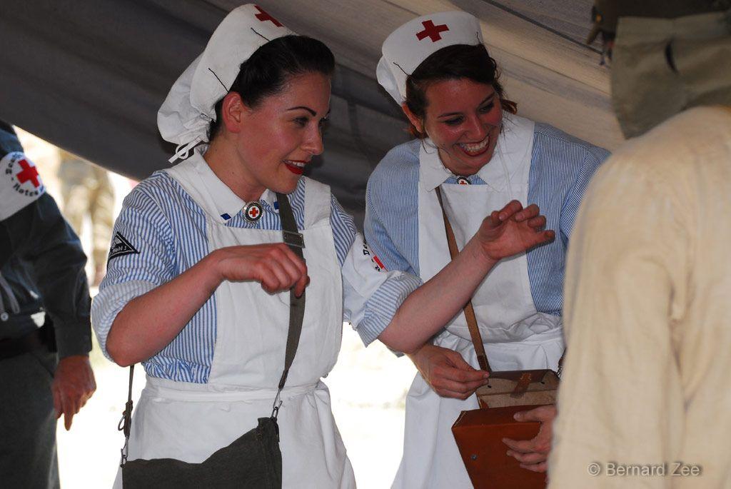 Re-enactors wearing the uniform of a German Rotes Kreuz (Red Cross ...