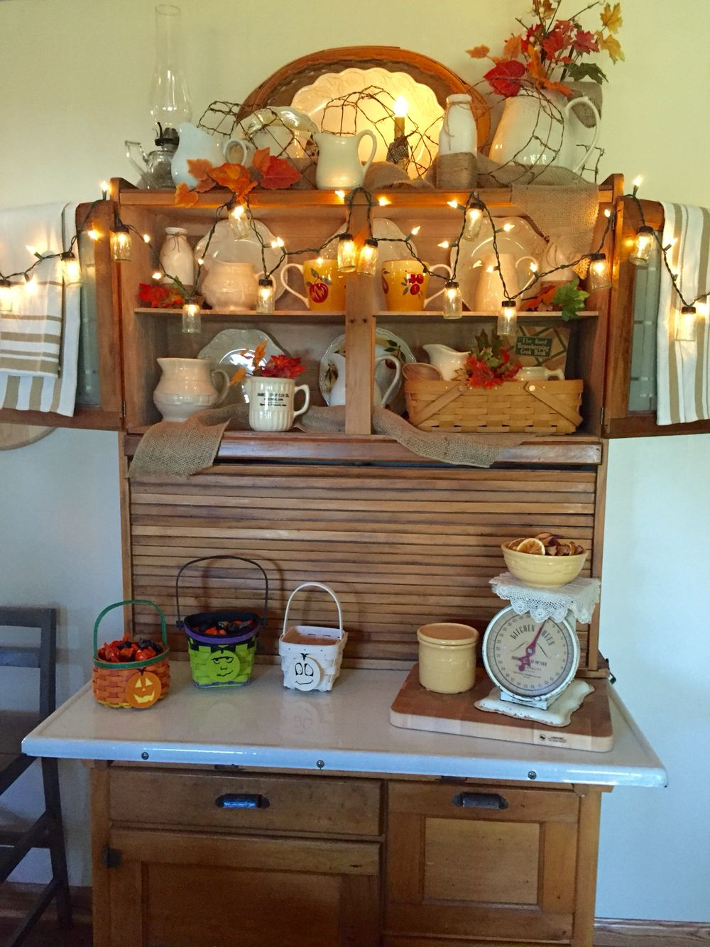 my housier all dressed up for fall hoosier cabinet kitchen cabinet styles hoosier cabinets on kitchen hutch id=81080