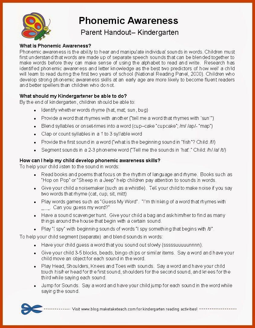 Classroom Handout Ideas ~ Parent handout phonemic awareness classroom freebies