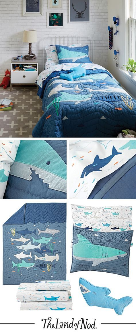 Our Shark Bedding Is All Style With Just A Little Bite Add It To Your Kids Bed To Create The Perfect Shark Themed Bedroom Just W Kids Room Lighting Kids Bedroom