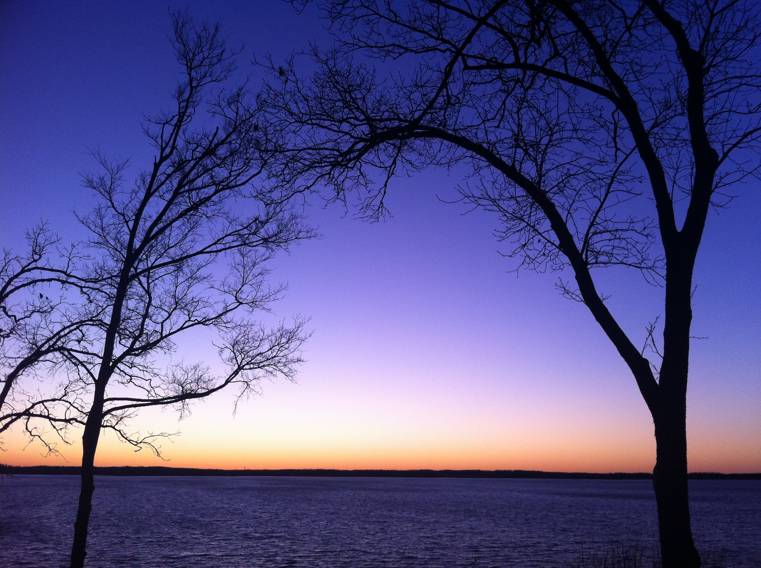 Lighthouse Landing in KY. The cool hues of a winter sunset. Photo Kim Messer.