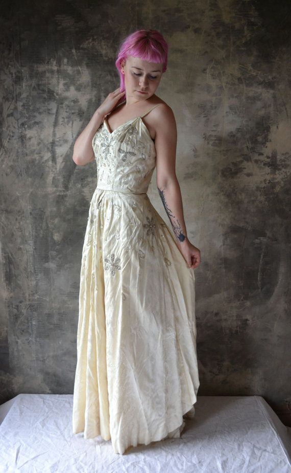 1950s Ivory Satin German Wedding Gown By Petrune On Etsy 12500