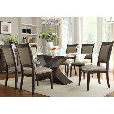Homelegance Bering 7 Piece Glass Dining Room Set w/ X-Base by ...
