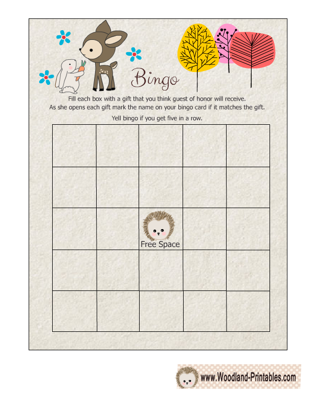 Free Printable Woodland Baby Shower Bingo Game
