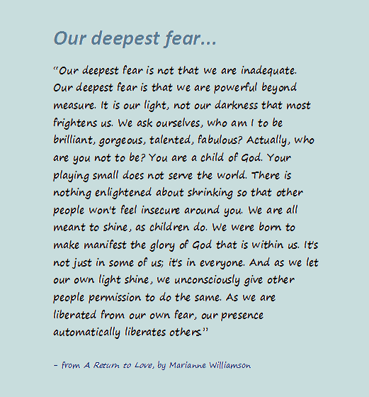 Our Deepest Fear Quote From A Return To Love By Marianne Beauteous A Return To Love Quotes