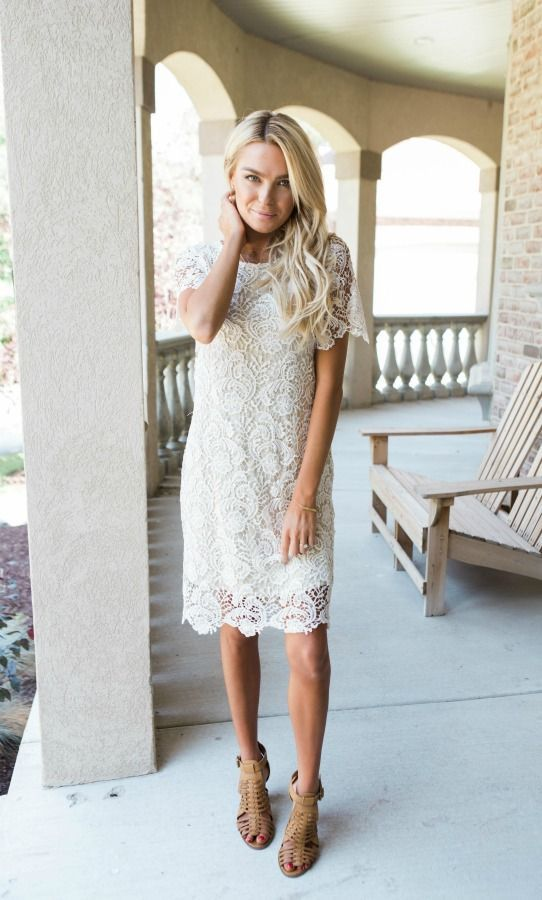 Cream colored dress with colored heels