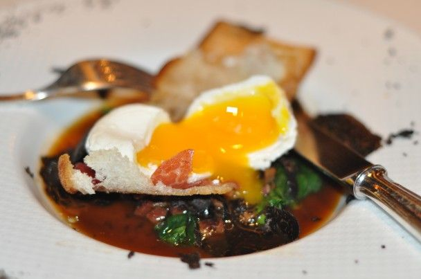Ciabatta Wrapped Crispy Egg Iberico Ham Spinach And Truffle Ham Ragout