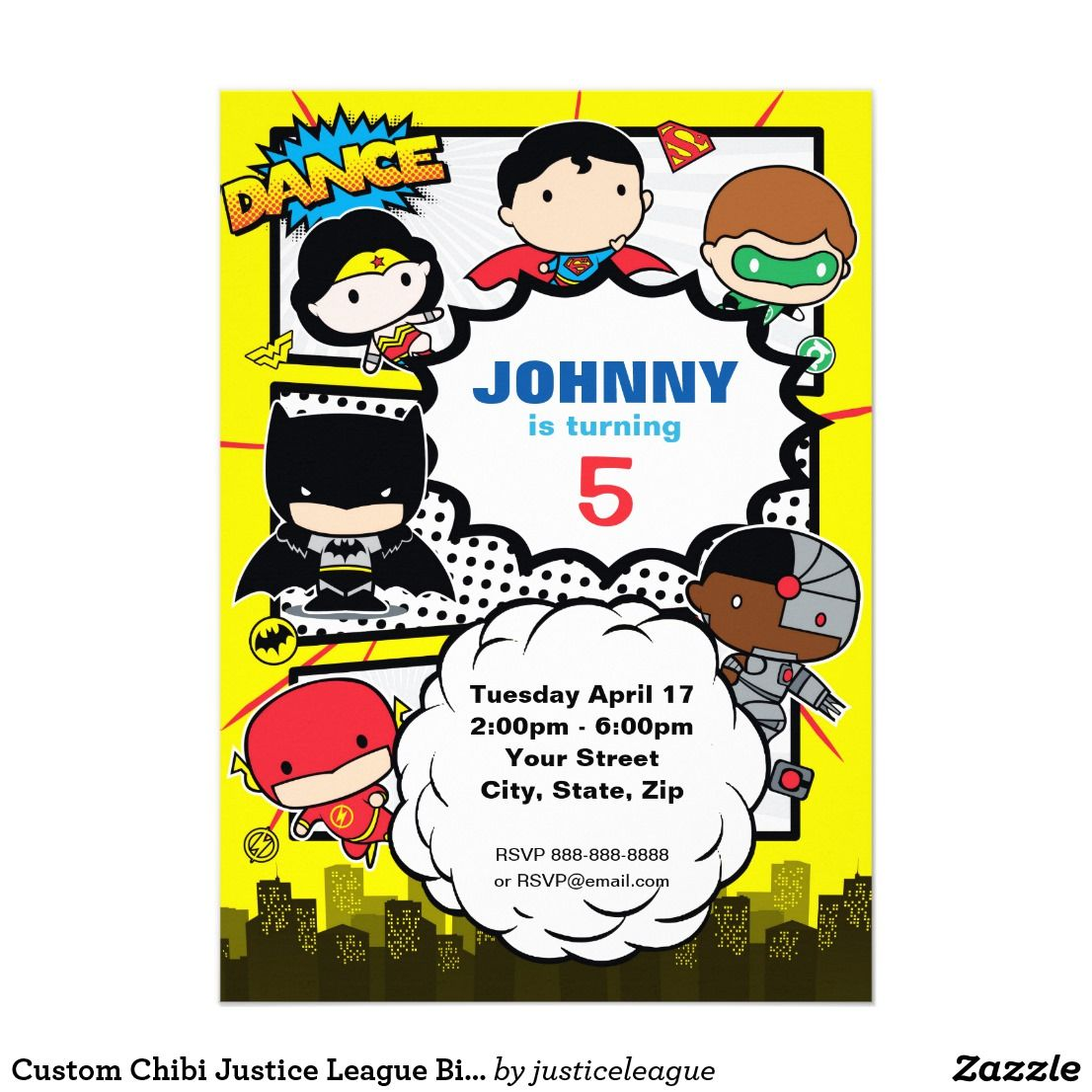 Justice League Invitations Free: Justice League - Chibi Birthday Invitation