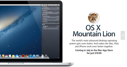 OS X Mountain Lion Coming Next Month 19.99 Mac ipad, Os