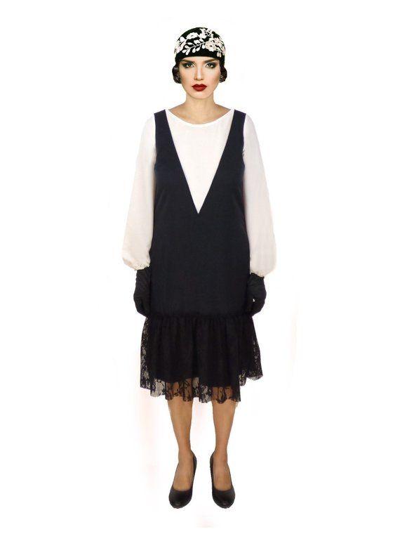 9a01182671115 Black White Flapper Dress, 1920s Dress, Roaring 20s Dress, Retro Sheath  Dress, Low Waist , Long Bish