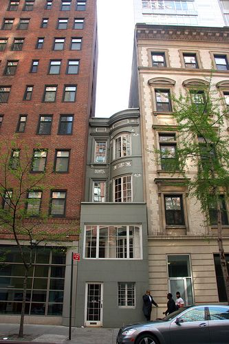 420 W 58 Street, NYC ~ half a brownstone [12.5 ft] between two large apartment buildings...
