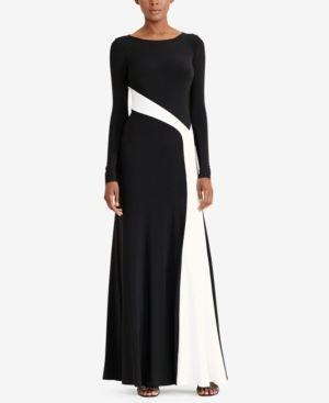 a1d614534173a Lauren Ralph Lauren Colorblocked Jersey Gown - Black/White 10 Formal  Evening Dresses, Formal