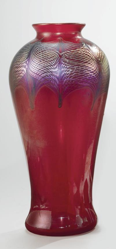 Peacock Feather Vase, Tiffany Studios, Louis Comfort Tiffany, favrile glass, circa 1905