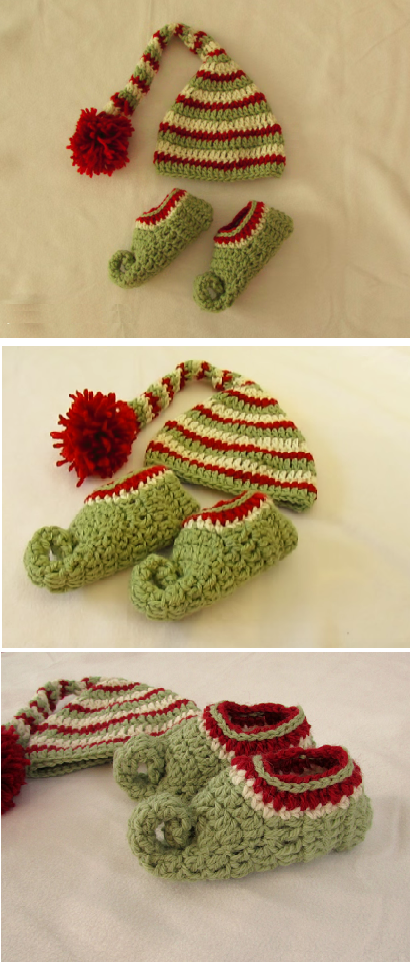 Crochet elf booties and hat | Crochet | Pinterest | Tejido, Sesión y ...