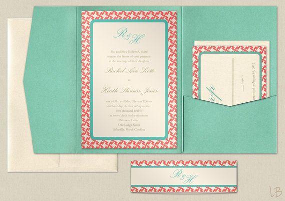 coral wedding invitations My future wedding Pinterest