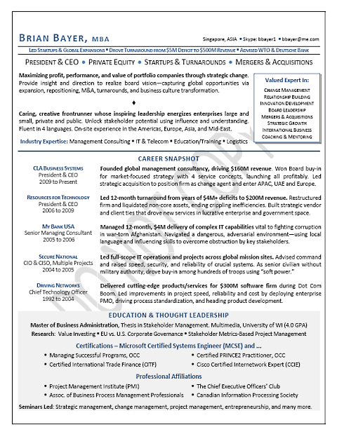 President Ceo Board Advisory Global Page 1 Business Letter Template Resume Executive Resume