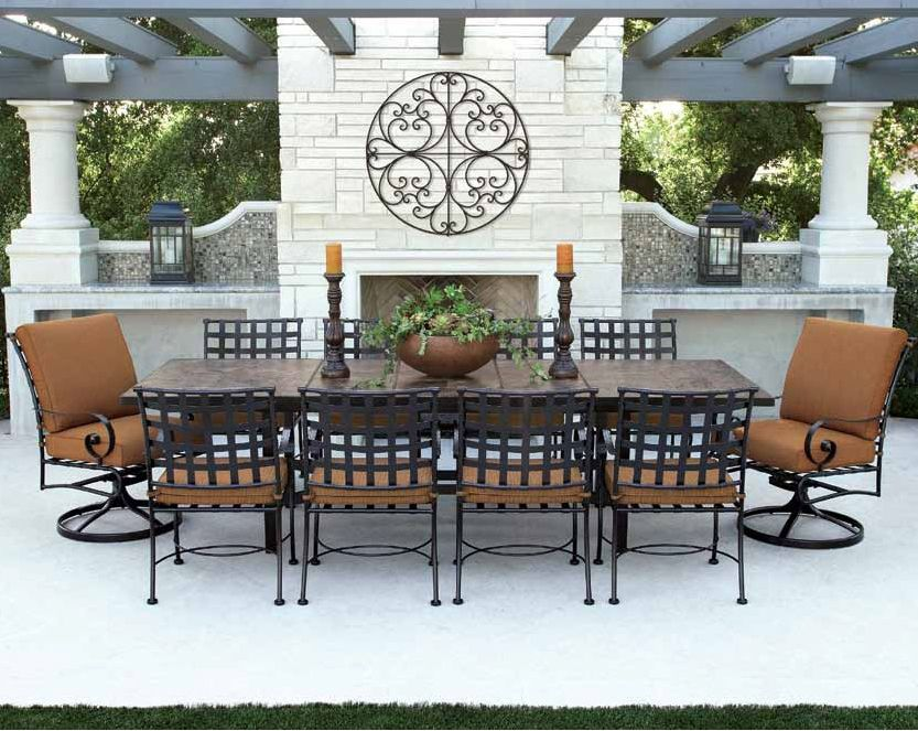 Incroyable Traditional Wrought Iron Patio Dining Set With Seating For 10. Features  Expanding Butterfly Leaf Table And Beautiful Porcelain Tile Top.