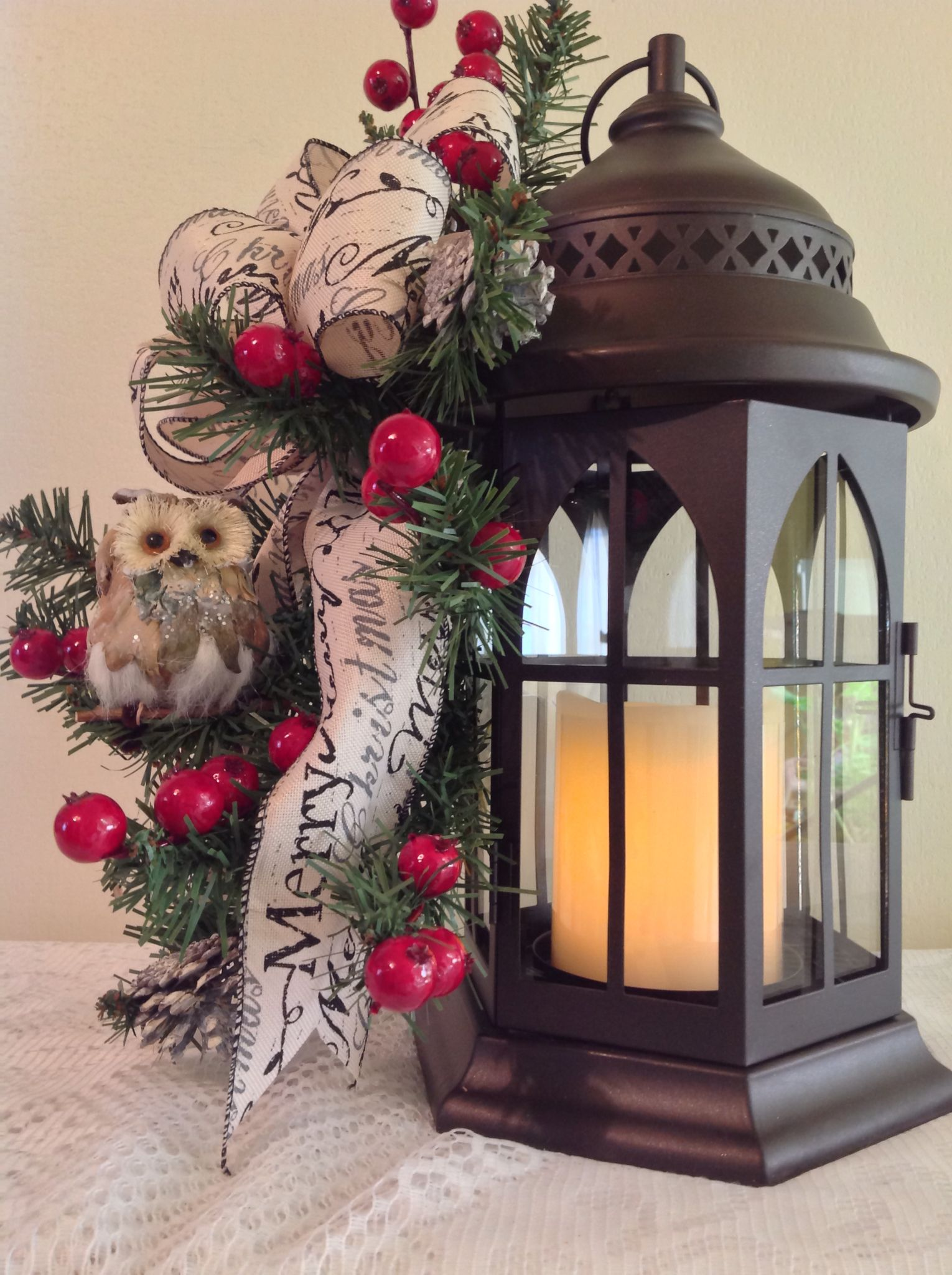 Metall Lantern 4 Candle ,Owl ,Merry Christmas Bow ,Red Berries