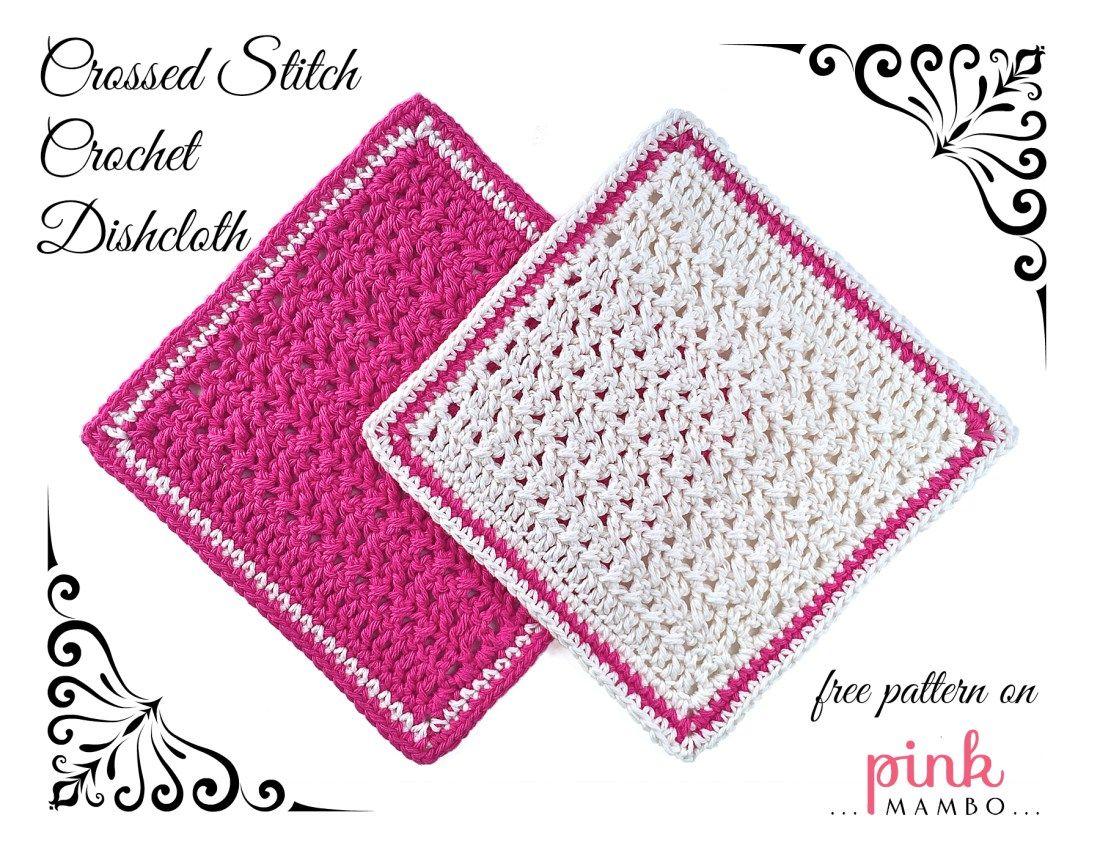 Pink and White Crossed Stitch Crochet Dishcloths | Crochet 3 | Pinterest