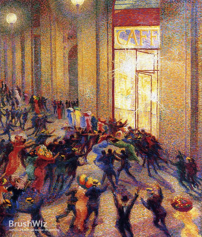 Umberto Boccioni: Riot In The Galleria by Umberto Boccioni - Oil Painting Reproduction - BrushWiz.com