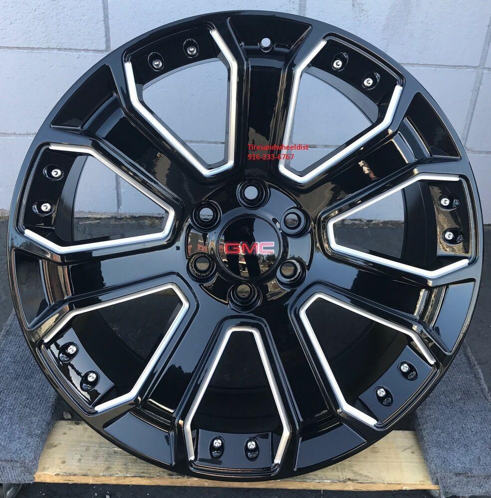 Advertisement Ebay 26 Gmc Yukon Denali Wheels Black Milled Tires