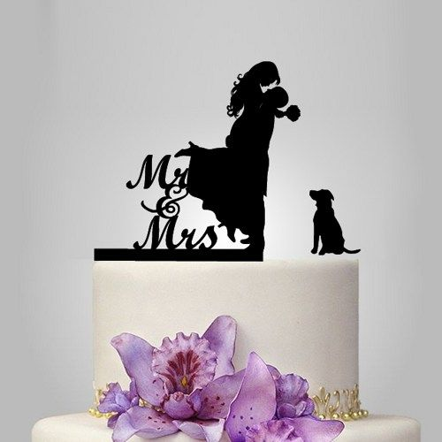 Funny wedding cake topper, with pet silhouette, dog mr and mrs ...