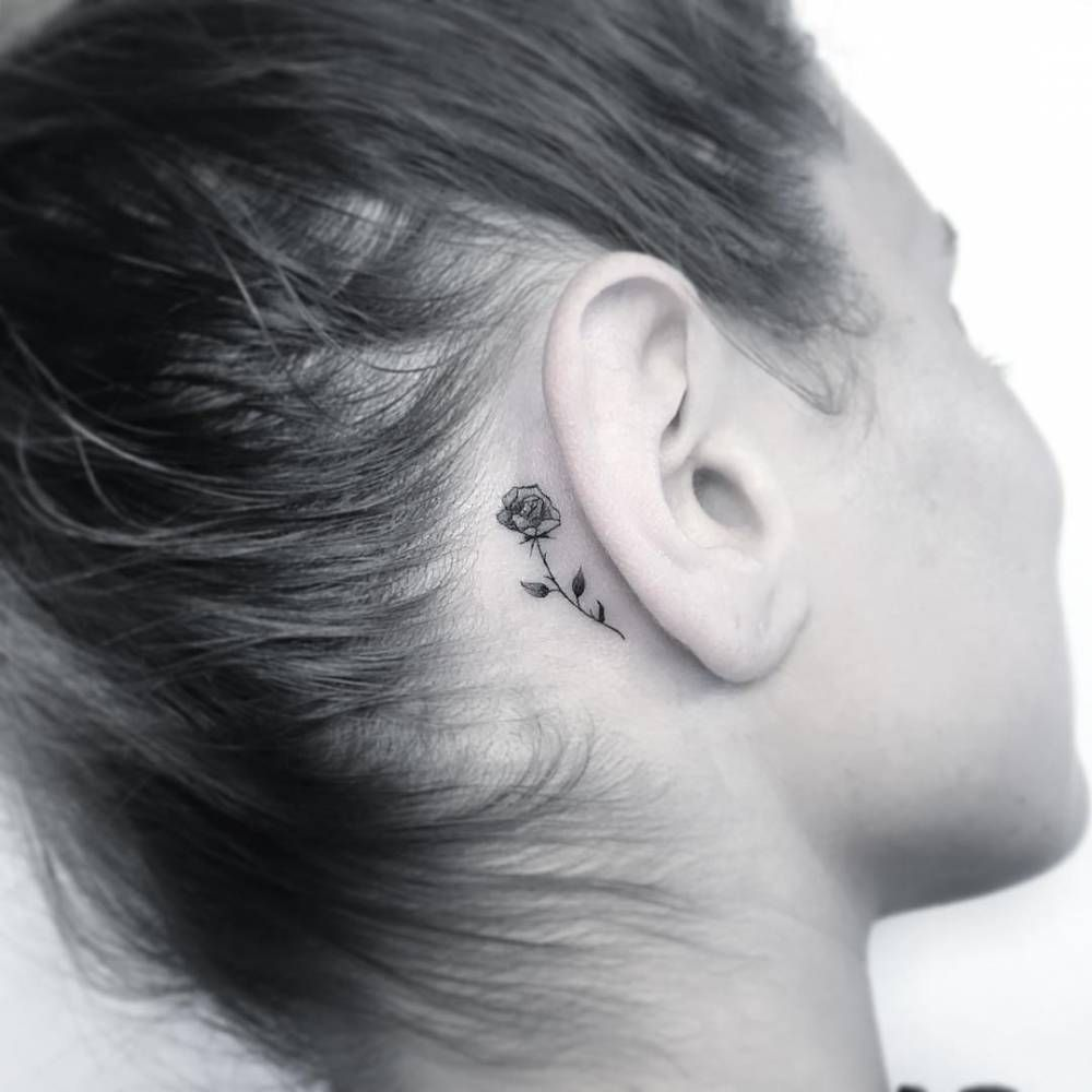 Single Needle Tattoo Behind The Right Ear Behind Ear Tattoos Single Needle Tattoo Behind Ear Tattoo